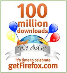 Firefox 100,000,000ダウンロード達成!!