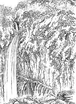 裏見の滝の図