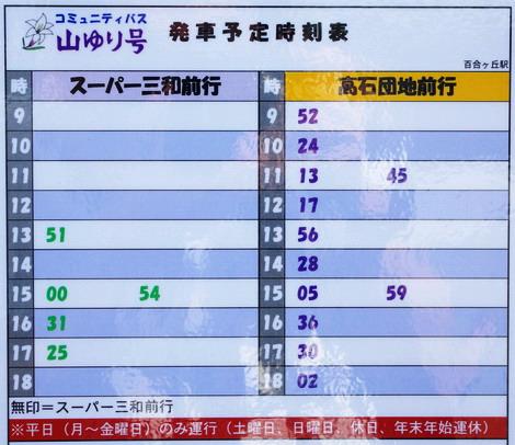 山ゆり号百合ヶ丘駅時刻表