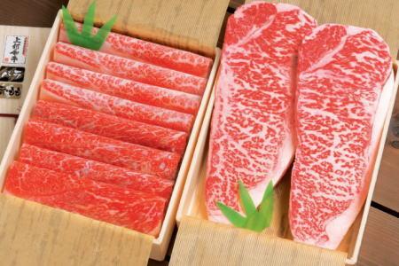 上村牛サーロインステーキとすき焼