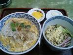 神保町 桂庵 カツ丼+半冷やしたぬき