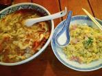 神保町 揚州商人 スーラータンメン(刀切麺)+炒飯セット