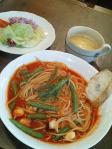専大前 Bon Viveur 海 週替わりパスタランチセット(タコとインゲンのトマトソース)