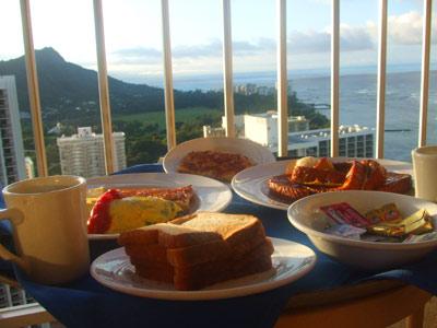 ラナイで朝食!