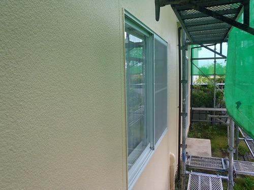 06 外壁リシン面 施工完了