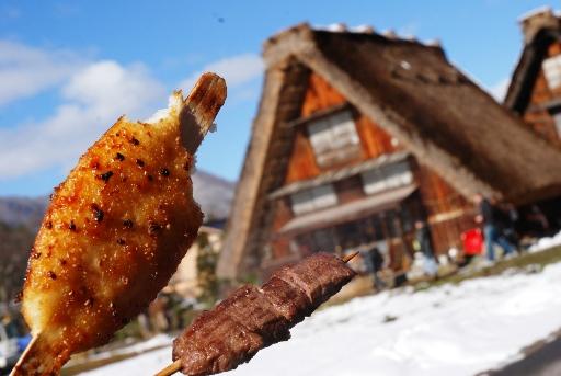 五平餅と飛騨牛串焼き