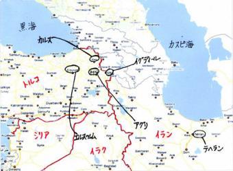 トルコイラン国境周辺地図