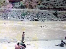 子供と牛と川