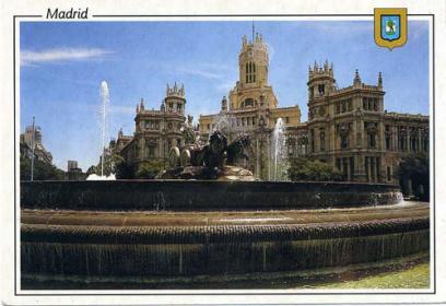 Cibelesの噴水と中央郵便局(絵葉書)
