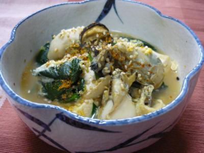 牡蠣と豆腐のサッと煮