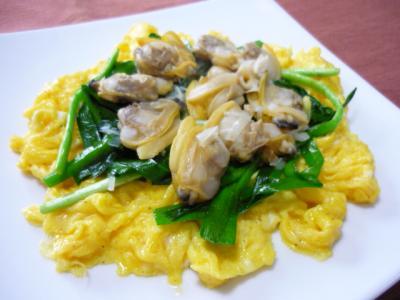 アサリとニラ・卵の炒め物