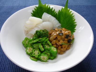 イカ納豆とオクラ和え