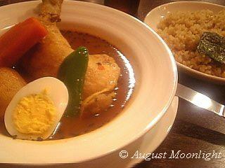 心 骨付きチキンのスープカレー 玄米