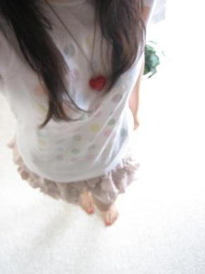 近・Tシャツ+桃スカート☆8/4