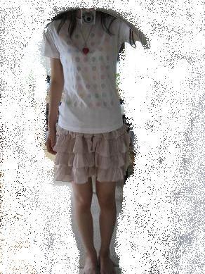 Tシャツ+桃スカート☆8/4