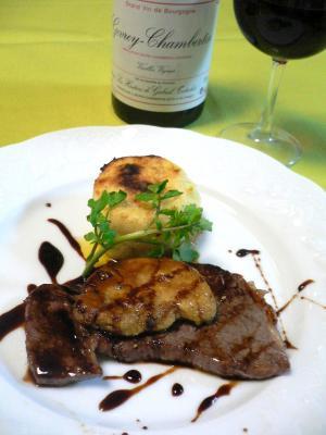 フォアグラと牛肉のステーキ