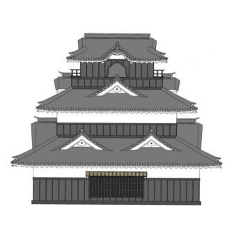 加納城御三階櫓東立面復元図