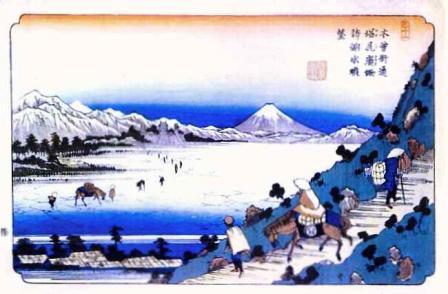 30木曾街道 塩尻嶺(しおじりとうげ) 諏訪ノ湖水眺望(英泉)
