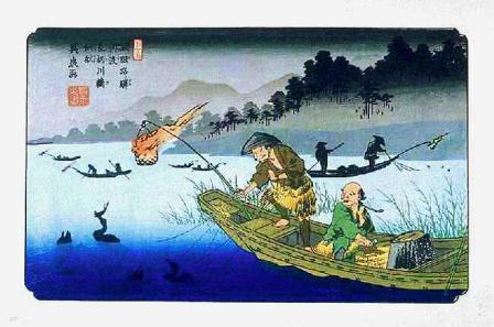 54木曽路ノ驛 河渡 長柄川鵜飼船(英泉)