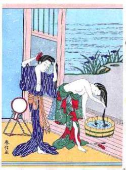 鈴木春信「髪洗う二美人」