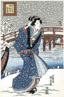 歌川国貞「木母寺暮雪(中)」