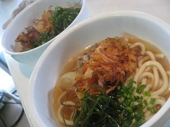 天ぷらと肉うどん