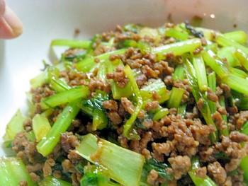 挽肉とカブの葉っぱのオイスター炒め3