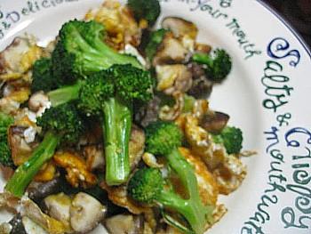 ブロッコリー入り卵椎茸炒め