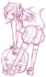 かぼちゃまきえ線画