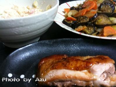 鶏モモ肉のカリカリオリーブ焼き+ラタトゥイユ+ポテトサラダ