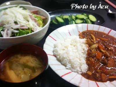 トマトカレー・胡瓜の漬物・サラダ・お味噌汁