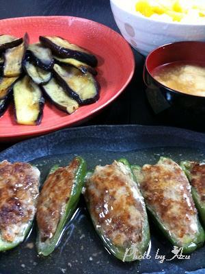 ピーマンの肉詰め・ナスのオリーブ焼き・サラダ・お味噌汁・餡かけごはん