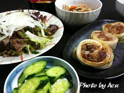 白菜のお肉巻き・長ネギと油あげのお味噌汁・きんぴらごぼう・胡瓜の漬物・サラダ