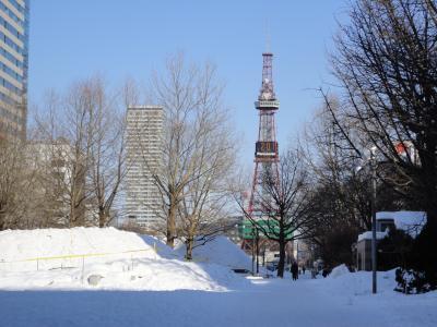 雪と青空の中のテレビ塔