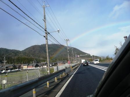 琵琶湖に掛かる虹