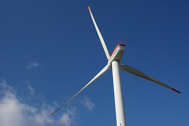 霞なき 冬晴れに舞う 大風車