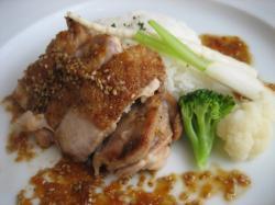 札内鶏モモ肉の網焼きステーキ (1,500円のコース)