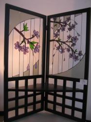 ステンドグラスの屏風「桜屏風」