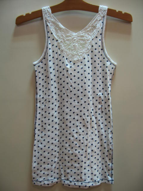 HOLLISTER TANKTOP WHITE/NAVY SIZE S