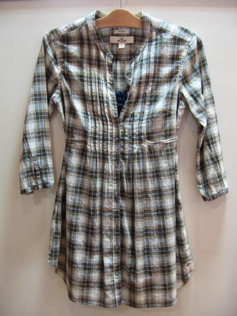 ホリスター ロング丈 襟なし チェックシャツ