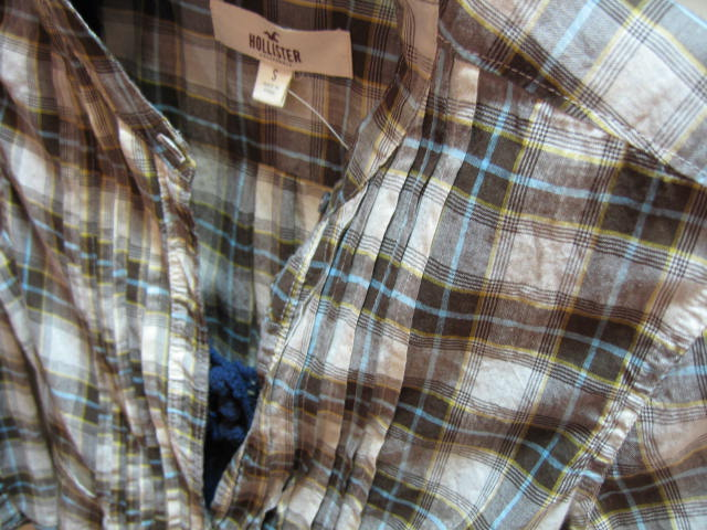 HLL-0909-45-1 HOLLISTER PLAID SHIRT KHAKI SIZE S