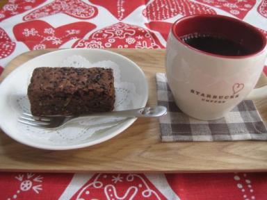 バレンタインブラウニーとコーヒー