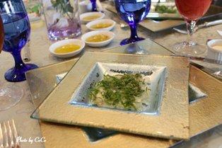 鯛のカルパッチョソース大葉風味