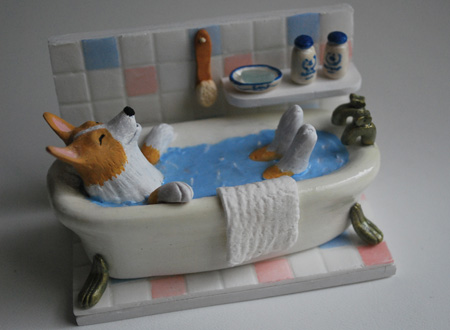 お風呂コーギー2