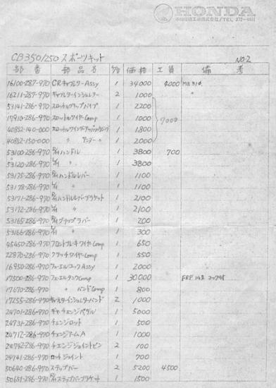 改訂版CB250/350RSCキットパーツリスト 1
