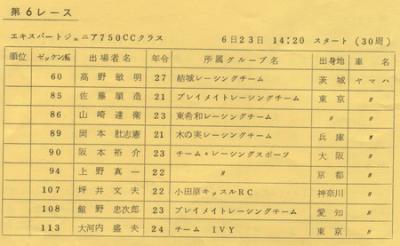 74年MFJ筑波第3戦E・J750ccエントリーリスト