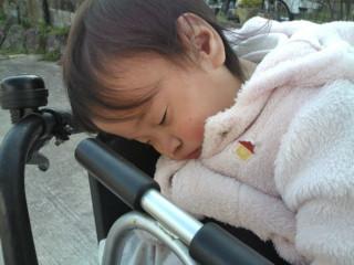 自転車で熟睡の姫(^v^)♪