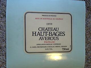 「Chateau Haut-Bages Averous 1999」のラベル