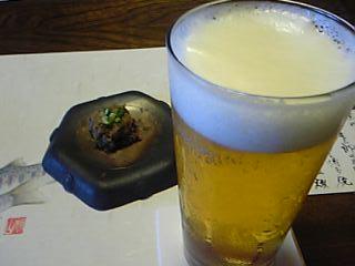 「ビールと自家製鴨味噌」宿房 翡翠之庄(長湯温泉)