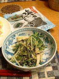 塩吹きひじきと水菜の胡麻和え